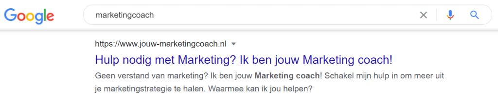 SEO zoekresultaat in Google