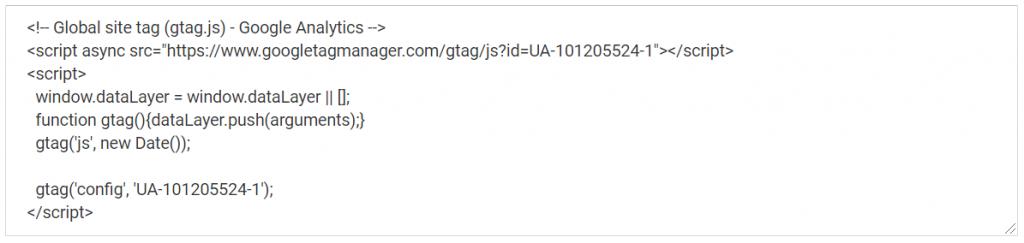 Voorbeeld Google analytics script